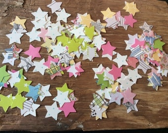 Colorful hand cut paper stars