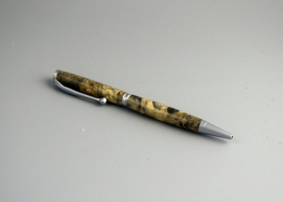Handcrafted Buckeye Burl Slimline Twist Pen With Brushed Satin Trim FB4706