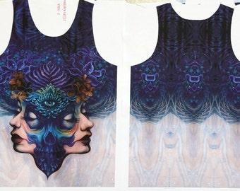 Binary Duality - Skull tanktop, Wearable Art, Unisex Tank Top, third eye art, trippy art, visionary art, sublimation print, colourful shirt