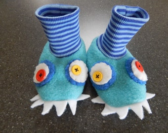 Turquoise and blue monster fleece stay on baby booties