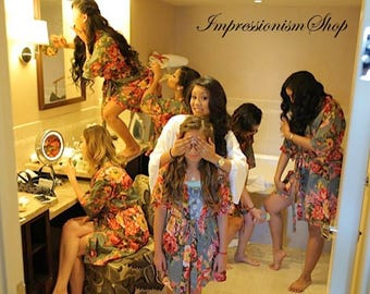 Sale Set of 8, Bridesmaid robes, kimono dress , bridesmaid gift ideas, maid of honor, flower girls, Matching floral getting ready gown robes