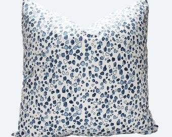 Decorative Designer Lacefield Calico Wedgewood Blue Pillow Cover, 18x18, 20x20, 22x22 or Lumbar Throw Pillow