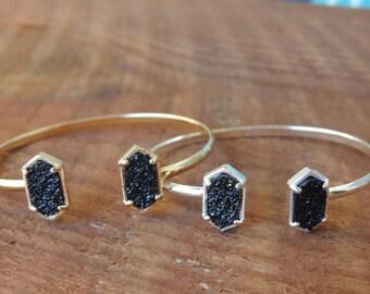 Black Druzy Bracelet, Druzy Cuff Bracelet, Druzy Bangle, Black Druzy Gemstone Cuff, Druzy Bangle Bracelet, Boho Bracelet