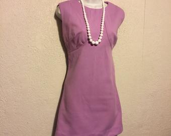 Cute Vintage Lilac Purple Mini Dress ~ Sleeveless Textured Polyester