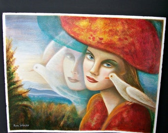 Rina Sutzkever Limited Edition Serigraph titled Thought Signed and Numbered