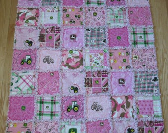 Large 39 x 45 John Deere Pink Rag Quilt  made with 14 Different Fabrics Baby Toddler Blanket