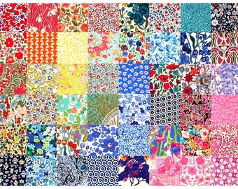 "SALE 15% off Liberty Fabric 48 Mini Charm Quilt Squares 2.5"" Bundle Patchwork Quilting Medium Bright Colours Liberty London Cotton Tana Lawn"