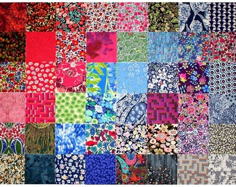 """SALE 15% off Liberty Fabric 48 Mini Charm Quilt Squares 2.5"""" Patchwork Quilting Dark Deep Colours and Grey Liberty London Cotton Tana Lawn"""