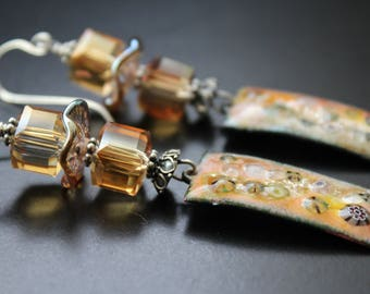 Artisan enamel earrings Swarovski crystal earrings long dangle OOAK lampwork sterling silver earrings peach tones spring / summer earrings