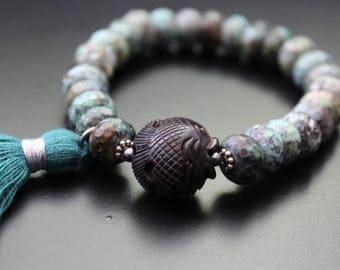 Ebony wood carved fish bracelet gemstone tassel bracelet matte African turquoise bracelet tribal urban safari bracelet stretch bracelet