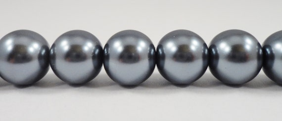 """Grey Pearl Beads 10mm Round Glass Pearl Beads, Dark Gray Pearl Beads, Beading Supplies, Crystal Pearl Beads on a 7 1/4"""" Strand with 20 Beads"""