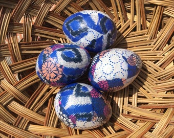 Cobalt Brights Handmade Decoupage Paper Mache Easter Eggs Ikat and Floral: Set of Four