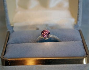 Pink Zircon Ring, 1.22 Carat, Round Cut Sterling Silver Ring, Size 5 1/2