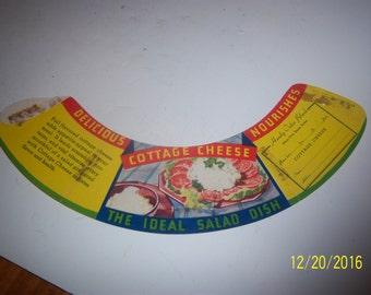 1940-50's Tomato Cottage Cheese  Milk Bottle Shoulder Order Sleeve Dairy Cow Paper  Ephemera