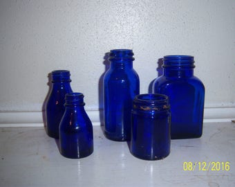 1930-1950's  Lot of 5 SCREW TOP cobalt blue medicine bottles 2 3/8 to 4  inches tall