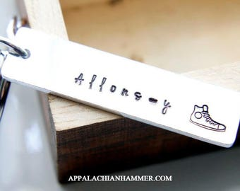 Allonsy High Top Shoe, Doctor Who Inspired Hand Stamped Rectangle Long Pendant, Key Chain or Necklace