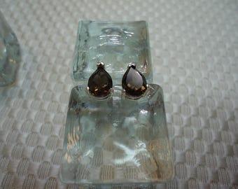 Pear Cut Smoky Quartz Earrings in Sterling Silver   #1976