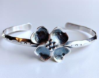 Vintage Dogwood Flower Blossom cuff bracelet Handmade Sterling Silver