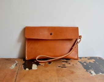Bridle Leather Tan button clutch