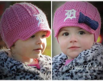 The Original- Pink Detroit Tigers Inspired Newsboy Hat with Bow Option / Layne Couture / Newborn to Adult