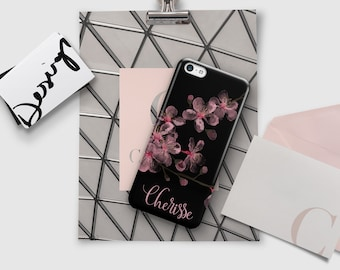 Pink and black floral iPhone case, Dual layer drop resistant protection, Pink cherry blossoms (1770)