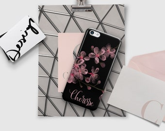 Pink and black floral phone case Dual layer drop resistant protection Cherry blossoms Fits iPhone 4/4s 5/5s 6/6s 7 8 5c SE X and Plus (1770)