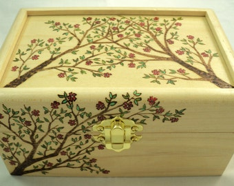 Solid Maple Wood Blossoming Tree Branches Woodburned Jewelry Box, Keepsake Box, or Memory Box