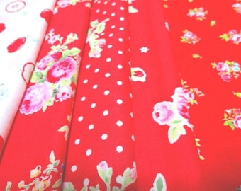 SALE Japanese Fabric Flower Strawberry FQ 5Pices L4