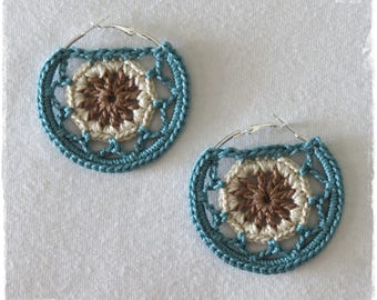 Reserved listing for HEATHER-- Crochet Hoop Earrings-Dreamcatcher Earrings-Mandala Hoop Earrings