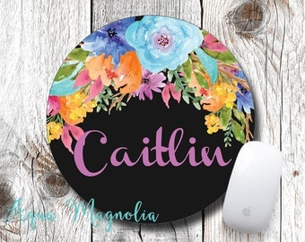 Personalized Mouse Pad - Water Color Flowers - Desk Accessory - Monogrammed Mouse Pad