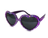 Violet Sparkly Heart Shaped Sunglasses. Bright Purple Crystal Encrusted Sunnies. Statement Bling Shades. Glitzy Girls Glasses. Gift for her