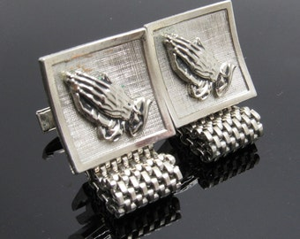 Mesh Praying Hands Cufflinks Vintage Wraparound Mens Jewelry H875