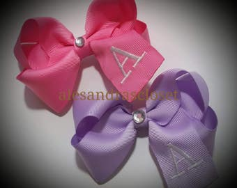 Embroidered Letter A Initial Monogram Hair Bow Girls Toddler Tween Hair Bow Simple Bows Everyday Hair Bows School Spring Summer Hair Bows
