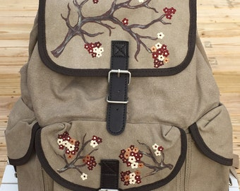 Everest Canvas Rucksack Backpack Hand Painted with Cherry Blossoms