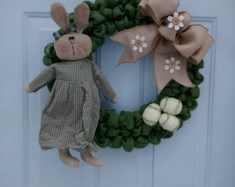 Country Easter wreath primitive Easter wreath Easter Bunny wreath Easter Door decor Spring wreath Spring country burlap wreath ready to ship