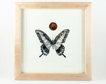 Framed Original Artwork, Detailed Ink Painting of a Butterfly with Copper Leaf and Metallic Pigment, Unique and Genuine Art, Collectible