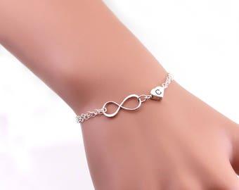 Best friend bracelet. Sterling silver infinity bracelet, monogram bracelet, sister bracelet. Heart charm bracelet