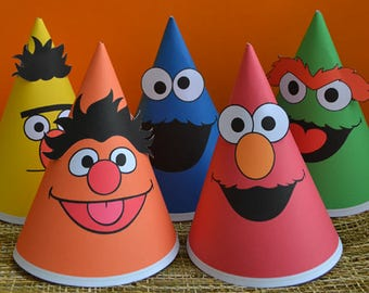 Sesame Street Party Hats Printables, Sesame Street Birthday Hats, Sesame Street Hats, Elmo Party Hats, Cookie Monster Hat, Bert and Ernie