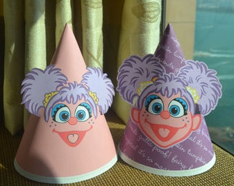 3 Abby Birthday Hats, Abby Party Hats, Sesame Street Abby Cadabby party hat, Sesame Street hats, Abby party decor, Abby party supplies