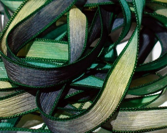 """FROGGY 42"""" hand dyed wrist wrap bracelet silk ribbon//Yoga wrist wrap bracelet ribbons//Silk wrist wrap ribbon// By Color Kissed Silk"""