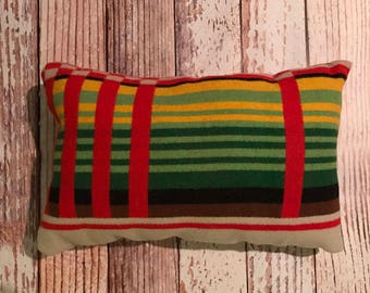 Red Stripe Wool Pillow Made In The Northwest
