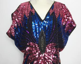 Vintage Pink and Blue 1970s Disco Beaded Sequin Butterfly Top
