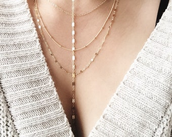 Kala necklace - gold layering necklace, gold multistrand necklace, gold filled necklace, gold layerednecklace, gold necklace, hawaii jewelry