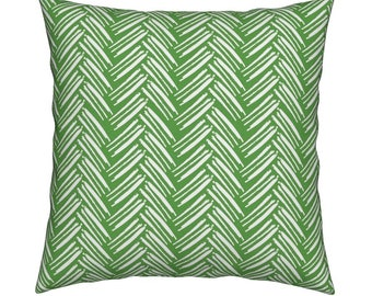 Herringbone Green Pillow Cover