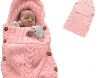 Newborn Baby Wrap Swaddle Blanket, Baby Kids Toddler Wool Knit Blanket Swaddle Sleeping Bag Sleep Sack Stroller Wrap for 0-12 Month( Pink)