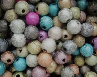 6mm Round Acrylic Sparkledust Bubblegum Beads Pack of 50 Beads BD160