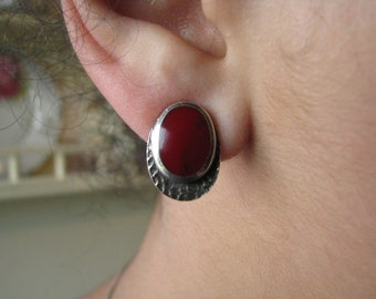 Vintage Sterling Silver Natural Red Coral Stud Earrings Button Earrings
