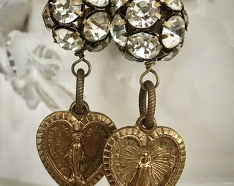 Extremely rare vintage medal hearts repurposed vintage rhinestones assemblage earrings ooak