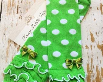 Green Leg Warmers, Baby Leg Warmers, Green Baby Leg warmers, Arm Warmers