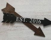 Wood Arrow-Personalized Home Coordinates-Established Sign-Wedding Arrow-Nursery Decor-Latitude and Longitude-Home Sweet Home-Havensplace